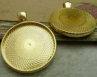 "5 Bright Gold Plated TRAYS for Resin, Cabochons, fits 25mm (1"") inside tray"