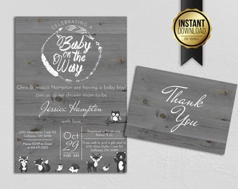 Gray Rustic Baby Shower Invitation with thank you card - 5x7 - INSTANT DOWNLOAD - Woodland Baby Shower, Wood, Gray, Black and White, Feather