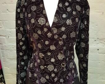 80s double breasted glittery jacket. UK size 10