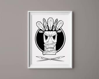Geometric Tiki Mask Print//A4// Wall Decoration