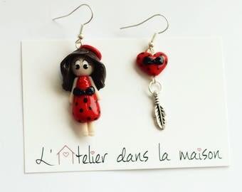 Doll and Red polka dot heart asymetrical earrings black