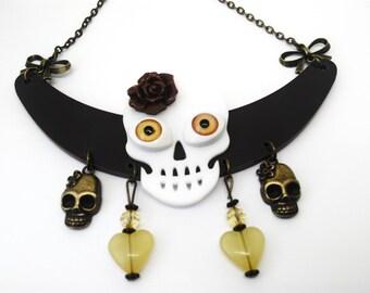 Electric Calavera pastel bib necklace - skull Mexican - sugar skull - dia los muertos - day of the dead