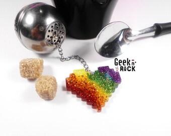 Heart pixel - retro gaming pixel cadeauoriginal geeky gamer nerd Geek tea ball