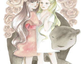 Art Print - Fairytales - Snow White and Rose Red (Schneeweißchen & Rosenrot)
