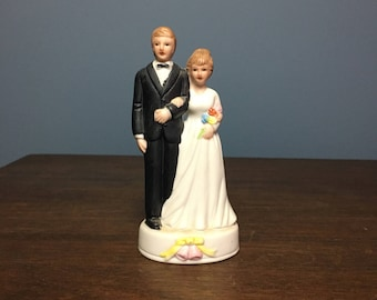 Vintage 1980's Bisque Wedding Cake Topper Bride and Groom (CT #12)