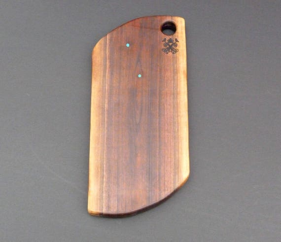 Charcuterie Board, Walnut Natural Edge with Turquoise Inlay, #4w-3.95