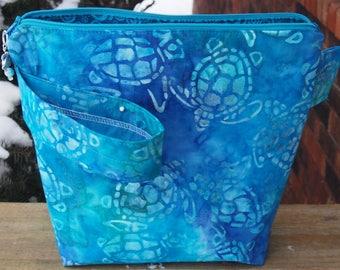 Sea Turtle Batik Zippered Pouch Knitting Project Bag/Pockets