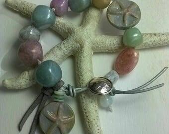 Bracelet Starfish Lampwork beads, clay beads