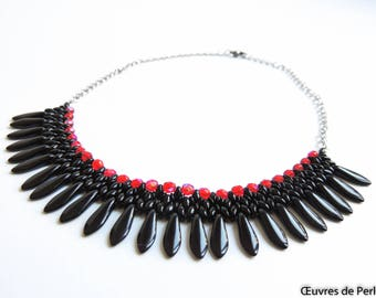 Black and red dagger beaded necklace Statement necklace Dagger necklace Christmas gift Gift for her