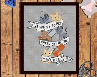 Kitten cross stitch pattern pdf Cat embroidery hoop art Cat lover Gift for her Wall art Mom gift Fiber art Cross stitch pattern modern