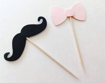 Bowtie and Mustache Cupcake Toppers