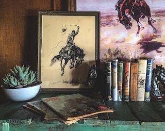 "Frederic Remington Framed Print ""A Running Bucker"""