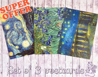 Set of 3 Vincent van Gogh postcards! Postcrossing postal cards Starry Night, Irises, Starry Night over the Rhone by van Gogh postcards