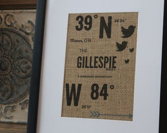Burlap Wall Decor - House-warming gift/home coordinates