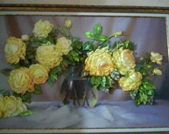 Painting embroidered with silk ribbons, in a baize. Handmade. Size 55 by 82 cm together with the frame. Embroidery on a tapestry.