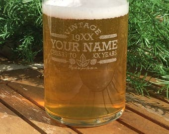 Beer Can Glasses-Engraved-Vintage-Personalized-Cheers-Aged To Perfection-Birthday Gift-(Set of 24)