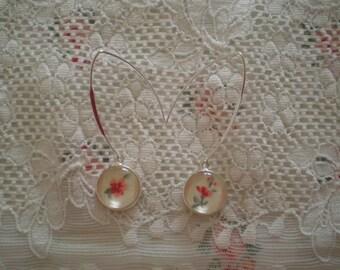 "Earrings ""Old porcelain"" vivid flowers"