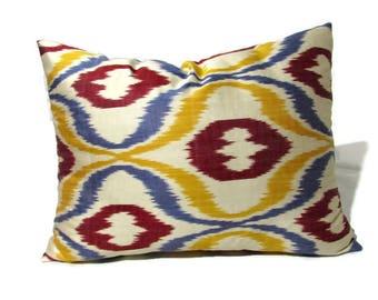mustard ikat pillow beige ikat pillow blue ikat pillow burgundy ikat pillow