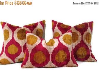 20% off Mustard Ikat Pillow, Red Ikat Pillow, Mustard Ikat Pillow Cover, Red Ikat Decorative Pillow, Mustard Ikat Couch Pillow, Red Ikat Sof
