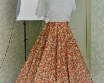 Orange floral long skirt