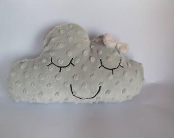 Cushion gray sleepy cloud with bow pink