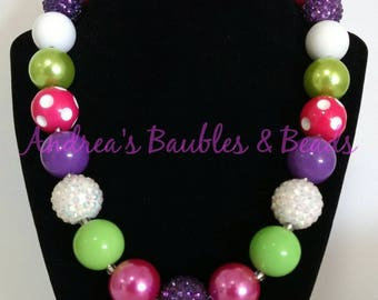 SALE!!! Lime Green, Hot Pink, Purple, White Chunky Necklace, 20mm
