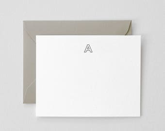 Letterpress Printed Initial Stationery  |  Set of 25