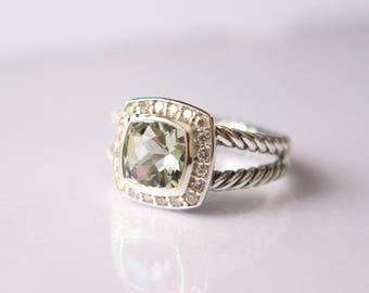 used david yurman albion ring with prasiolite and diamonds size 8