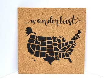 Wanderlust Map! Push Pin Cork Travel Map of the United States - Pinnable Cork Map of the USA - Travel Map