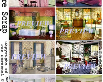 Vintage Room Scenes ATC ACEO Backgrounds Collage Tag Paper Art PNG