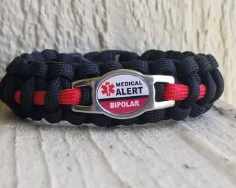 Bipolar Medical alert paracord bracelet