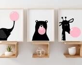 nursery set of 3 print, modern baby animal nursery print  animals with gum baby girl animal nursery art set nursery girl printable  set