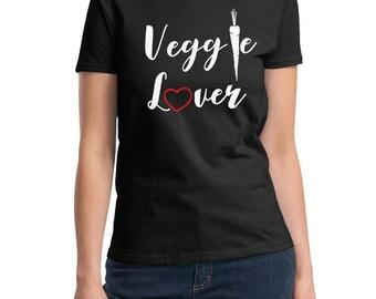 Ladies - Veggie Lover T Shirt - Vegan Tee - Animal Lovers - Vegetarian T-Shirt - Love For The Animals