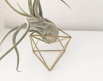 Brass Geometric Air Plant Cradle - Octahedron Himmeli - Tillandsia Holder - Office Desk Decor - Minimalist Brass Orb - Gold Plant Pot