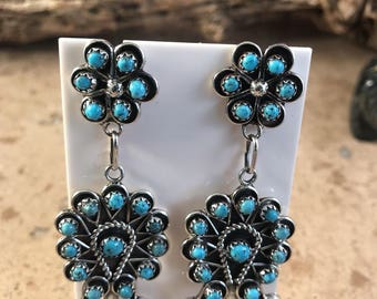 Zuni Petit Point Sterling Silver & Turquoise Dangle Earrings Signed