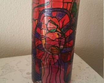 Original Hand Painted Glass Vase. Stained glass inspired. Wedding Centerpiece Vase, Home Decor