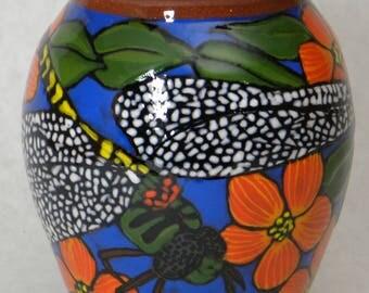 Dragonfly Vase w/Orange Flowers (Item#75)
