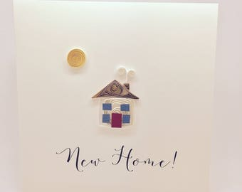 New Home! - Handmade quilled greetings card