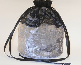 Mid Grey Velvet & Black Lace Dolly Bag / Handbag Bride Communion Christening Wedding Bridesmaid Gray
