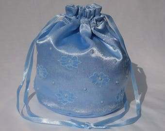 Blue Satin and Lace Flower with Pearls Dolly Evening Handbag Or Purse For Wedding Or Bridesmaid