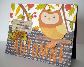 Thank you card, friendship card, autumn card, autumn card, greetings card, owl card, handmade card