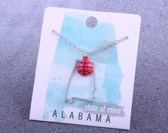 Customizable! State of Mine: Alabama Basketball Enamel Necklace - Great Basketball Gift!