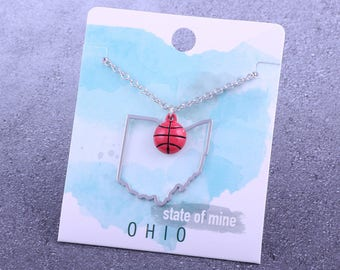Customizable! State of Mine: Ohio Basketball Enamel Necklace - Great Basketball Gift!