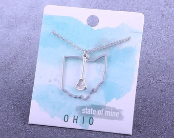 Customizable! State of Mine: Ohio Lacrosse Stick Silver Necklace - Great Lacrosse Gift!