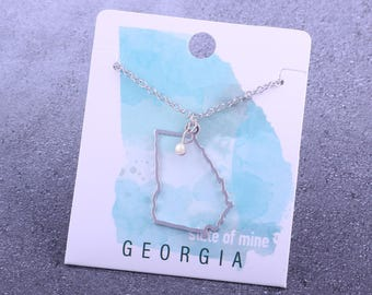 Customizable! State of Mine: Georgia Silver Necklace - Great Gift!