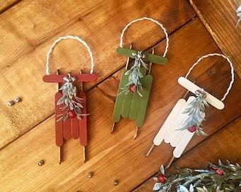 Santa's Sleigh Christmas Ornament // Rustic Christmas Ornament // Primitive Christmas Ornament
