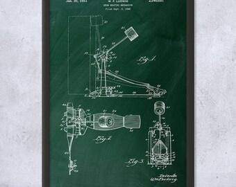 Framed Kick Bass Drum Pedal Patent Art Print Gift, Bass Pedal Art, Kick Drum, Drummer, Band, Music, Framed Patent Print, Framed Patent Art