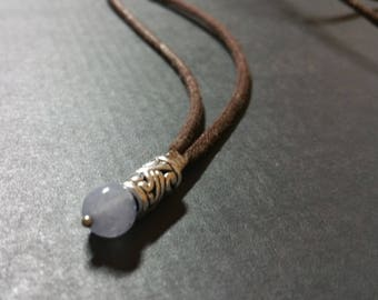 Natural Aquamarine necklace Mens stone necklace, long rope surfer necklace