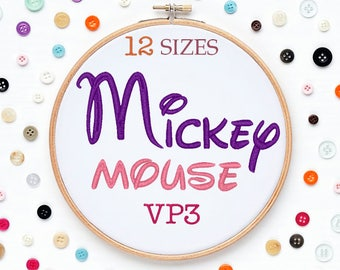 12 Sizes Mickey Mouse Disney Embroidery Font VP3 Format Embroidery Machine,Initials Monogram,Monogram Design,Instant Download