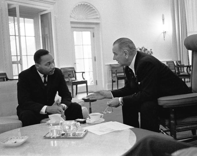President Lyndon B. Johnson with Martin Luther King Jr. In 1963 - 5X7, 8X10 or 11X14 Photo (EP-963)
